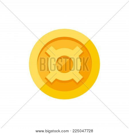 Generic currency symbol on gold coin, money sign flat style vector illustration isolated on white background