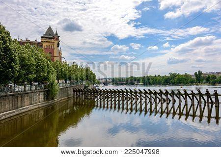 Groyne on the Vltava river in Prague, Bohemia, Czech Republic