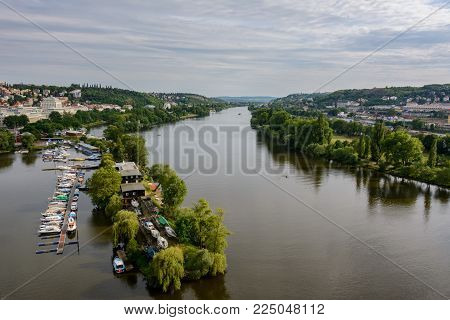 Aerial view of Prague and Vltava river in Vysehrad, Czech Republic, Bohemia