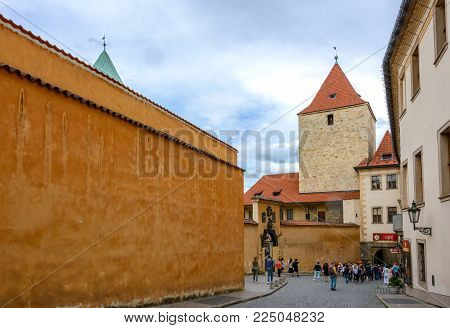 Prague, Czech Republic - June 5, 2017: Old street in Hradcany, Prague, Czech Republic