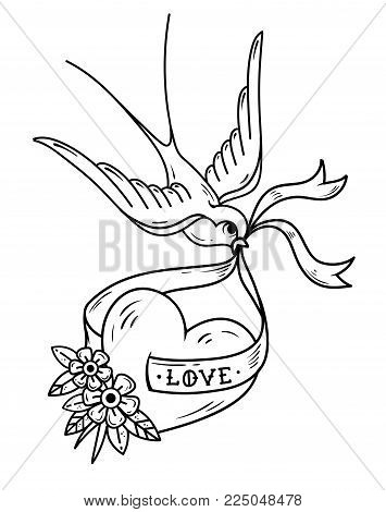 Swallow carries over heart on ribbon with lettering Love. Illustration for Valentines Day. Tattoo heart with flowers and bird. Old school style. Black and white tattoo