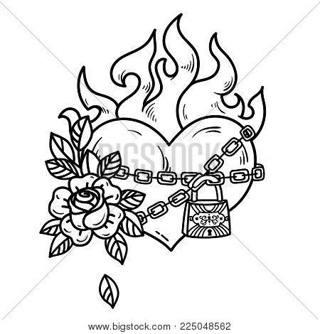 Tattoo flaming heart bound by chains of love. Burning heart with roses. Tattoo heart in fetters of love on white background. Old school styled. Symbol of unrequited love. Black and white illustration