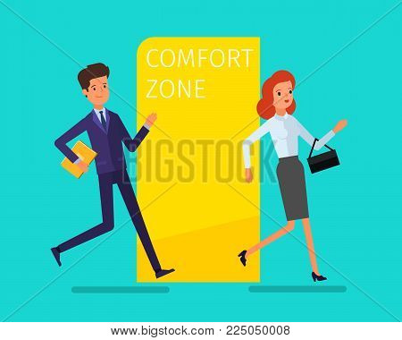 Concept of comfort zone. Business woman leaving the comfort zone. Businessman runs into the comfort zone to success. Flat design, vector illustration.