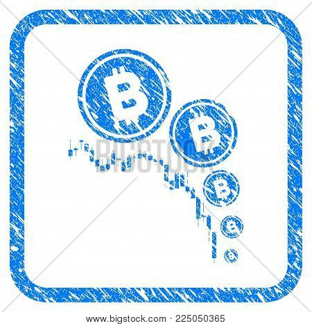 Bitcoin Deflation Chart rubber seal stamp imitation. Icon vector symbol with grunge design and corrosion texture inside rounded square. Scratched blue emblem on a white background.
