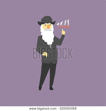 Famous naturalist and geologist - Charles Darwin. Originator of biological theory of evolution. Cartoon old man with gray hair and beard, dressed in black costume and hat. Isolated flat vector design.