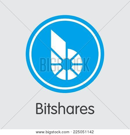 Bitshares: Criptocurrency Blockchain Icon on Grey Background. Virtual Currency. Vector Trading Sign: Bitshares.
