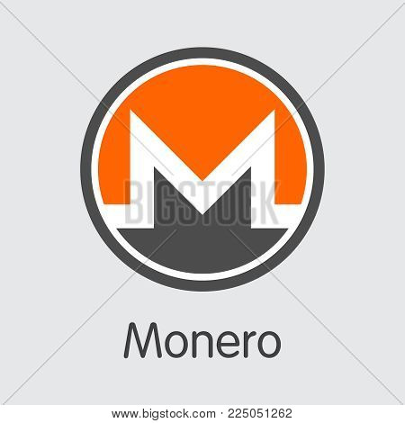 Monero: Criptocurrency Blockchain Icon on Grey Background. Virtual Currency. Vector Trading sign - Monero.