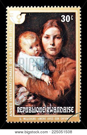 RWANDA - CIRCA 1975 : Cancelled postage stamp printed by Rwanda, that shows painting by Melchers.