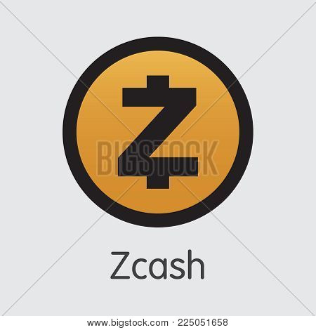 Zcash Coin: Criptocurrency Blockchain Icon on Grey Background. Virtual Currency. Vector Trading Sign: ZEC.