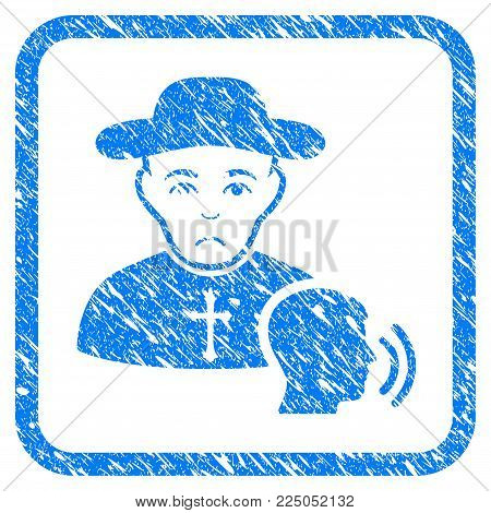Believer Confession rubber seal stamp imitation. Icon vector symbol with grunge design and dust texture inside rounded square frame. Scratched blue stamp imitation on a white background.