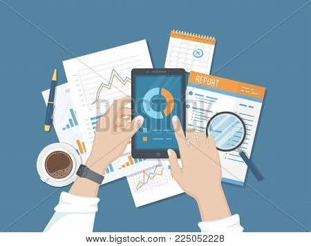 Statistics, analytics, report on the phone screen. Mobile services and applications for business and finance. Online audit. Human hand with a phone, documents, reports, calendar, coffee, pen. Vector