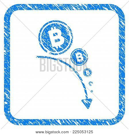 Bitcoin Deflation Trend rubber seal stamp imitation. Icon vector symbol with grunge design and corrosion texture inside rounded squared frame. Scratched blue sticker on a white background.