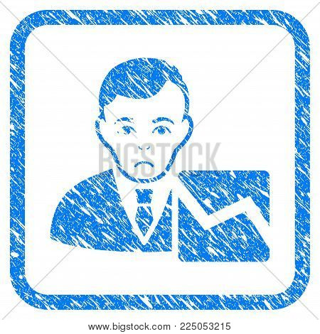Stock Trader rubber seal stamp watermark. Icon vector symbol with grunge design and dust texture inside rounded squared frame. Scratched blue sign on a white background.
