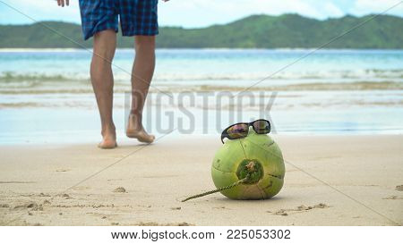 Green coconut on the sand of a tropical beach in sunglasses. Coconut funny wearing sunglasses on the beach. Fresh coconut from palm on a sandy beach. Philippines , El Nido. Travel concept.