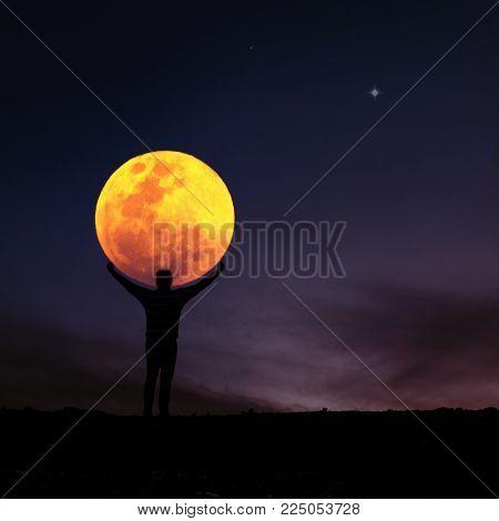 Night sky landscape and moon,  lunar eclipse, stars, Ramadan Kareem celebration