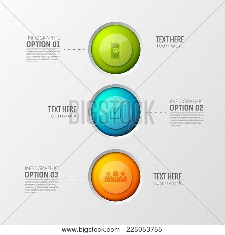 Infographic business concept with touch interface elements colorful buttons financial office icons connected with text paragraphs vector illustration