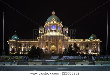 BELGRADE, SERBIA - DECEMBER 4, 2017: The building of the National Assembly and Parliament of the Republic of Serbia in Belgrade at night
