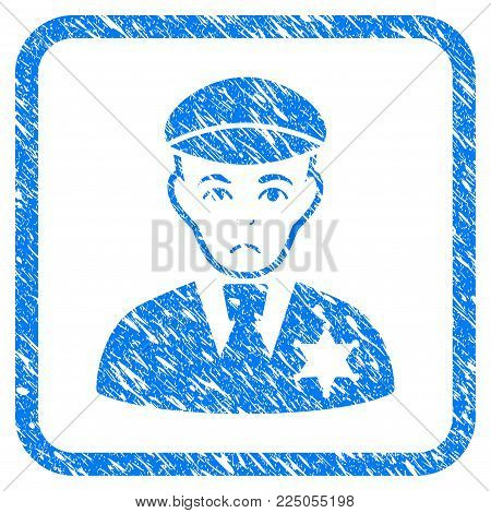 Sheriff rubber seal stamp watermark. Icon vector symbol with grunge design and dust texture in rounded squared frame. Scratched blue stamp imitation on a white background.