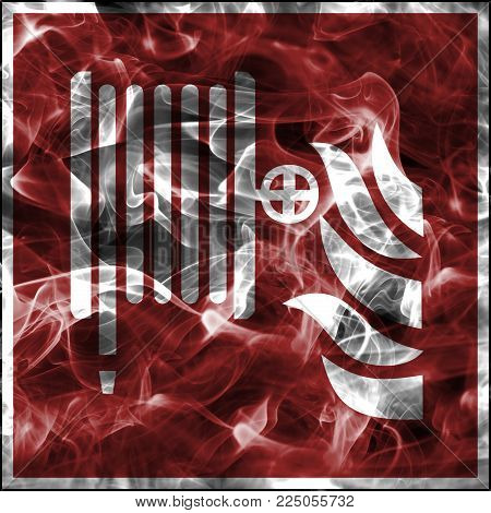 Emergency smoke symbols for firefighting equipment. Standard fire safety sign for fire hose reel
