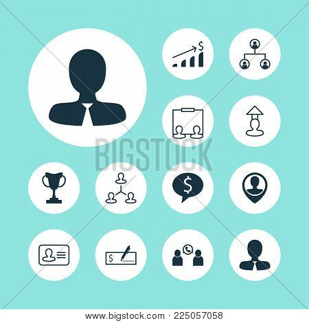 Resources icons set with identity, administrator, team structure and other location elements. Isolated vector illustration resources icons.