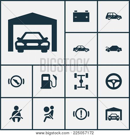 Automobile icons set with repair, garage, fuel and other accumulator elements. Isolated vector illustration automobile icons.