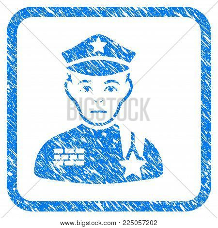 Army General rubber seal stamp watermark. Icon vector symbol with grunge design and corrosion texture in rounded rectangle. Scratched blue sticker on a white background.