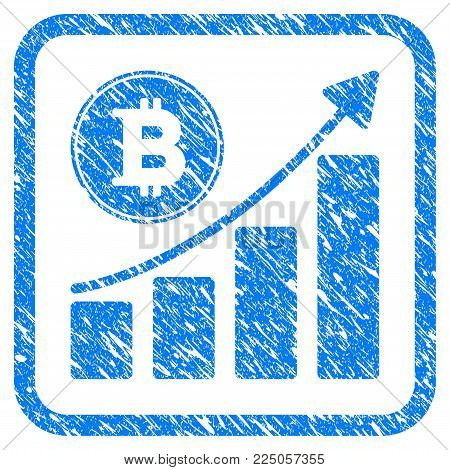Bitcoin Growing Chart rubber seal stamp imitation. Icon vector symbol with grunge design and dirty texture inside rounded squared frame. Scratched blue sticker on a white background.