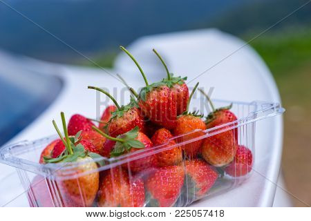 A group of strawberry. The strawberries are placed on the clear plastic package. The strawberries are look fresh and yummy.