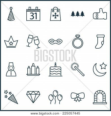 New icons set with snowman, party hat, gauntlet and other carnival face elements. Isolated vector illustration new icons.