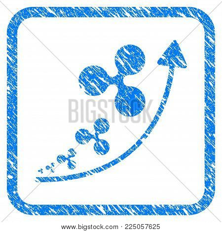 Ripple Inflation Trend rubber seal stamp watermark. Icon vector symbol with grunge design and corrosion texture inside rounded squared frame. Scratched blue sign on a white background.