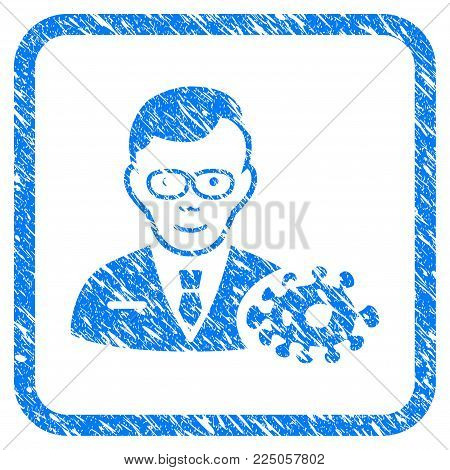 Bacteriologist rubber seal stamp watermark. Icon vector symbol with grunge design and unclean texture inside rounded squared frame. Scratched blue emblem on a white background.