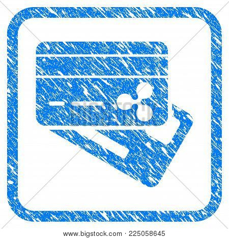 Ripple Banking Cards rubber seal stamp imitation. Icon vector symbol with grunge design and dirty texture inside rounded square frame. Scratched blue sign on a white background.