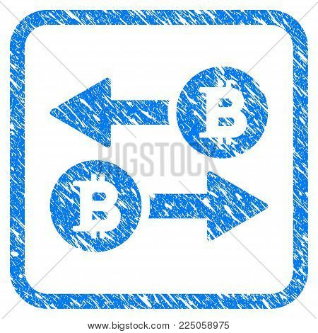 Bitcoin Transaction Arrows rubber seal stamp watermark. Icon vector symbol with grunge design and dust texture inside rounded square. Scratched blue sticker on a white background.