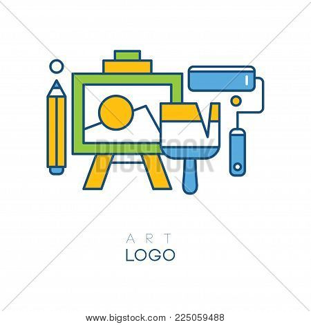 Abstract logo in line style with easel for drawing, pencil, brush and roller. Concept of hobby. Original graphic design for art studio. Colorful vector illustration isolated on white background.