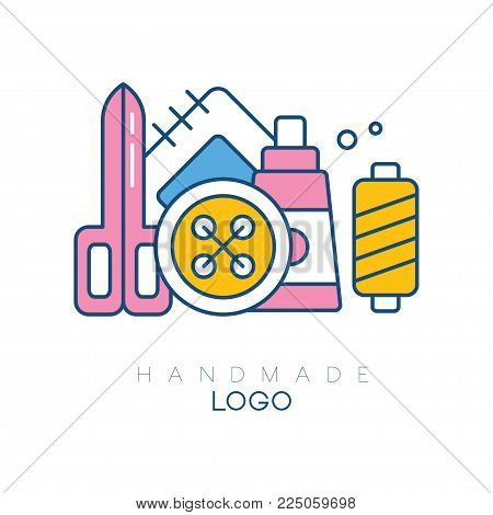 Original logo template with accessories for sewing. Big spool, bobbin with threads, patch, scissors and button. Isolated vector design for handmade club. Linear emblem with pink, yellow, and blue fill