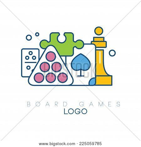 Abstract logo design with board games. Modern linear emblem with colorful fill. Billiard balls, chess piece, puzzle, domino and playing card. Creative vector illustration isolated on white background.