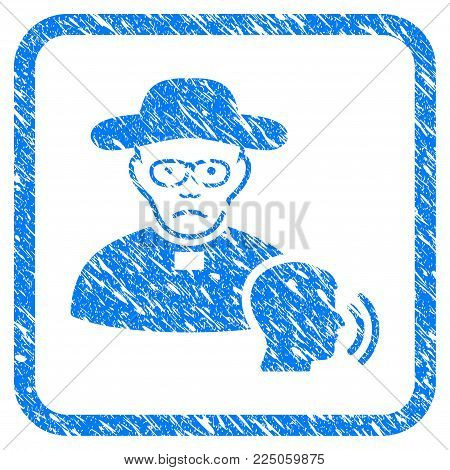 Believer Confession rubber seal stamp imitation. Icon vector symbol with grunge design and dirty texture inside rounded square. Scratched blue emblem on a white background.