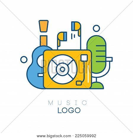 Creative logo template with vinyl record player, earphones, guitar and retro microphone. Music hobby. Linear emblem with green, yellow and blue fill. Vector illustration isolated on white background.