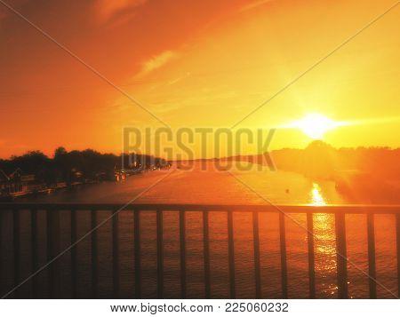 Perfect. Amazing view , Ada Bojana, Montenegro. Amazing sunset from the bridge. River Bojana. September in Montenegro.