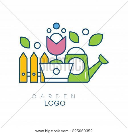 Modern garden logo template with little fence, flower in pot and watering can. Simple hobby icon. Linear emblem with yellow, pink and green fill. Vector illustration isolated on white background.