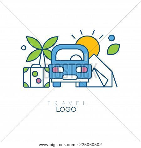 Creative hobby logo template for travel blog. Emblem with car, palm tree, sun and suitcase. Linear icon with blue, green and yellow fill. Original vector illustration isolated on white background.