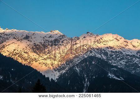 Snow on the top of the mountains