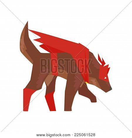 Superhero dog character sniffing, super dog dressed in red cape and mask cartoon vector Illustration isolated on a white background