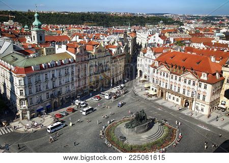 PRAGUE, CZECH REPUBLIC - AUGUST 24, 2016: Panoramic view of Old Town Square from The Prague City Hall (clock tower) in Prague, Czech Republic