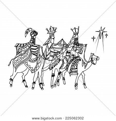 Black Mono Color Illustration for Merry Christmas and Happy New Year Print Design. Three wise men following the star of Bethlehem