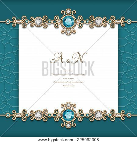 Vintage diamond jewelry background with swirly gold borders, elegant announcement or wedding invitation card template