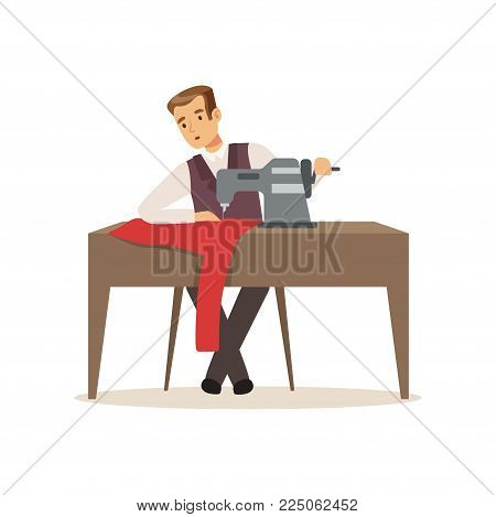 Male dressmaker sewing clothes by sewing machine, clothing designer or tailor working at atelier vector Illustration on a white background