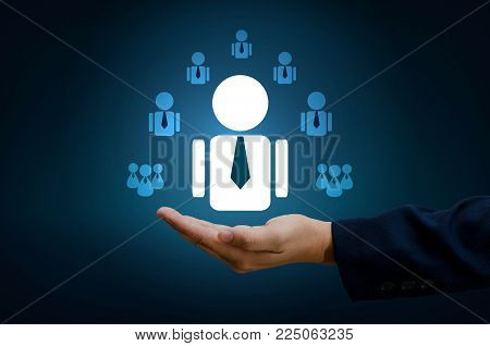 hand businessman human resource management and recruitment business  human resources CRM officer looking for employee represented by icon Gender discrimination in employees selection. blue background.