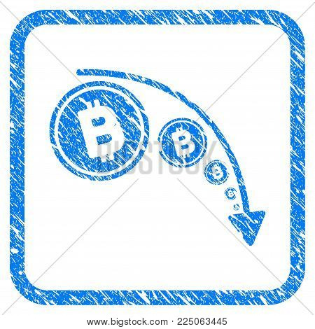 Bitcoin Reduce Trend rubber seal stamp imitation. Icon vector symbol with grunge design and corrosion texture in rounded square frame. Scratched blue sticker on a white background.