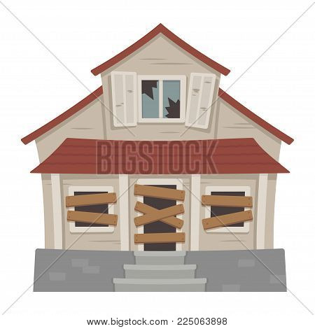 Old abandonded house cartoon vector illustration. Decaying suburban cottage with broken windows.